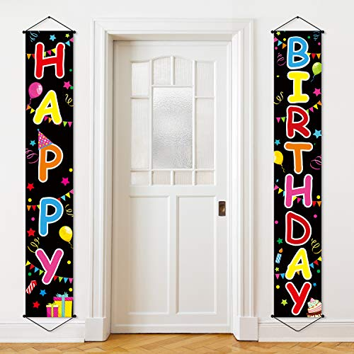 Colorful Happy Birthday Porch Sign Birthday Banner Birthday Celebration Flag Party Decorations Kit Kids Birthday Party Supplies Party Favors Indoor and Outdoor Decor