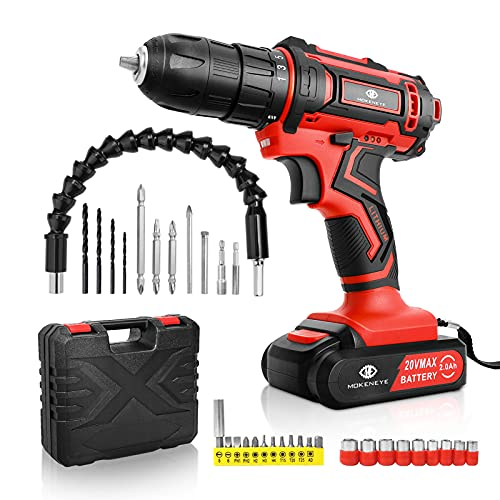 MOKENEYE 20V Cordless Drill Driver Kit, Power Drill with Battery and Charger, 25+1 Position, Variable Speed, 320 In-lbs Torque, 3/8 Inch Keyless Chuck, Built-in LED Light, 32 Pcs Accessories