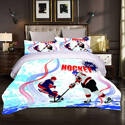 OJYUXD Bedding Set Single Size 135X200Cm 3 Pieces Brushed Microfiber Sports Ice Hockey Duvet Cover With 2 Pillowcases Soft Quilt Covers Double Fade Resistant