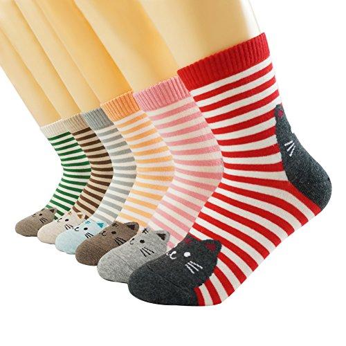 Oneworld Damen Frauen Mädchen 6 Paar/Halb Dozen lieblich Classic Casual Socken Damensocken Sportsocken Strumpf Cartoon Eule, 6 Paar-farbmix2, 35/40