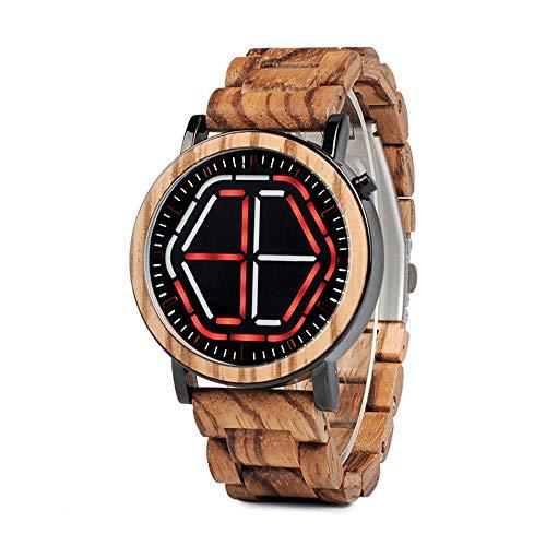 Preisvergleich Produktbild SailorMJY Holz Uhr,  Holzuhr Holz,  Hölzerne Digitaluhr-hölzerne Bügel-Nachtsicht-hölzerne Uhr-Mini Bunte geführte Entwurfs-einzigartige Zeit-Mode-hölzerne Uhr der Männe