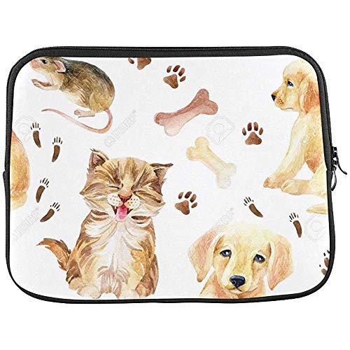Katje-puppy en muis-naadloos patroon huls-zachte laptop-case tas