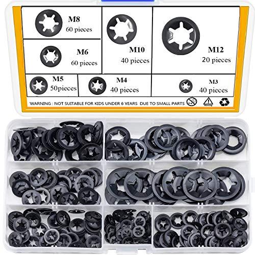 beihuazi® Starlock Rondelle, Rondelle Starlock M3 M4 M5 M6 M8 M10 M12 totale 7 dimensioni con 310 Pezzi per Impianti Meccanici e Produzione Industriale di Ammortizzatori e Cuscinetti
