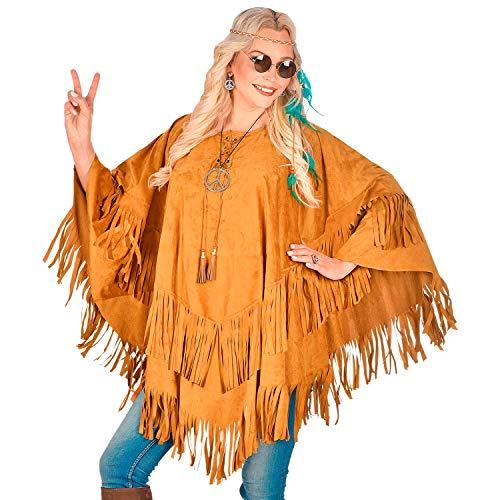 NET TOYS Extravaganter Indianer Poncho mit Fransen - Braun - Vielseitige Unisex-Verkleidung Indianerin Umhang - EIN Highlight für Fasching & Karneval