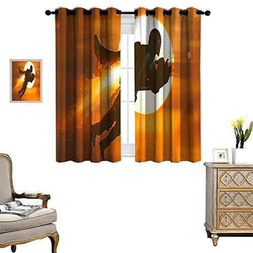 DRAGON VINES Cortinas opacas con aislamiento térmico para ahorro de energía, diseño mandaloriano y bebé Yoda Into The Skies Shie1ded UV, juego de 2 paneles de 55 x 62 cm