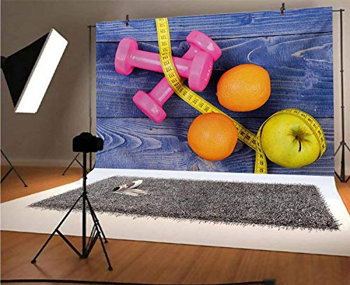 Fitness 10x6.5 FT Vinyl Photography Backdrop,Womens Dumbbells Apples Oranges Measuring Tape Eat Clean Live Active Theme Objects Background for Baby Birthday Party Wedding Studio Props Photography