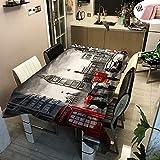Rectangular Manteles de Mesa, Morbuy Impermeable Antimanchas Mantel Lavable Ciudad Arquitectura Impresión 3D Poliéster Manteles para Cocina Salón Comedor Decoración (Gris Big Ben,140x200cm)