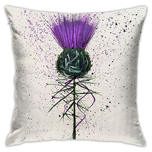 Not Applicable Purple Thistle Elegant Style Throw Pillow Cushion Covers Decorative For Sofa Bedroom Pillow Case 18 X 18 Inch