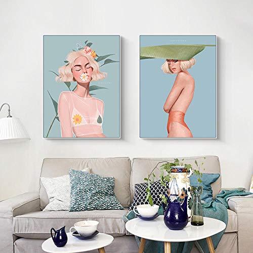 Bloem En Bladeren Vrouw Canvas Schilderij Zee Landschap Nordic Mode Posters Prints Stijl Muur Foto Thuis Woonkamer Decor 40x60cmx2 Geen Frame