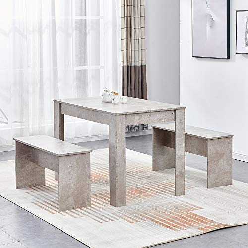 Ansley&HosHo Modern Wooden Dining Room Table and 2 Benches Set Grey for 4 People Space Saving, 3 Pieces Kitchen Dinette Set Furniture Table and Chairs Seats for Small Space
