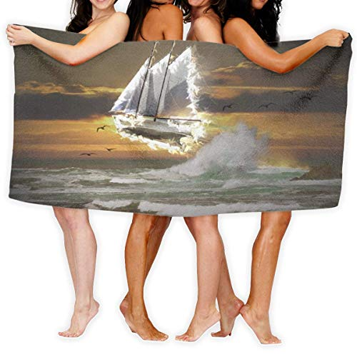 LOPEZ KENT Serviettes de Plage pour Femmes Hommes Blanket Flying Ocean Ship of Pirate Bath Sheets Popular 100% Polyester Outdoors Large Towel Cover for Yoga Mat Tent Floor 31.5