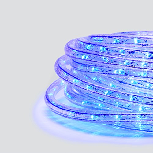 LampLust Blue LED Rope Light - Plugin (120V), 287 Extra Bright Blue Lights, 24 Ft Length, Connectable, Dimmable, 1/2 Inch Tube, Heavy Duty, Waterproof, for Exterior Lighting and Christmas Decor