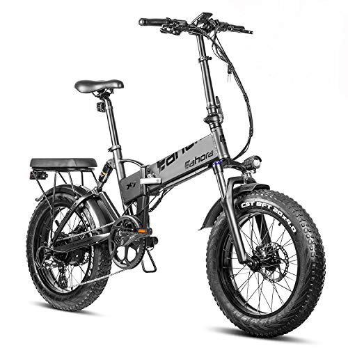 Eahora X7 N 750W Snow Beach Electric Bikes for Adults Commuting Electric Bicycles Fat Tire Folding Electric Bike Dual Disc Brakes,Full Suspension,E-PAS Tech,7-Speed,48V 10.4Ah Battery