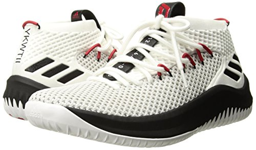 adidas Men's Dame 4, White/Black/Scarlet, 8 Medium US
