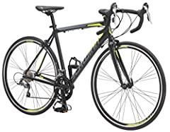 Schwinn aluminum road frame with Carbon fiber road fork Shimano Claris 16 speed derailleur with Micro shift integrated shift/brake lever combo High profile alloy double wall rims with paired spokes are lightweight and strong with front Quick release ...