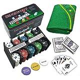 LEYENDAS CROWN Set de póker Caja de Metal, 200 fichas de póker, 2 Cubiertas,...