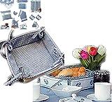 Küche und mehr - Brotkorb, blau-weiß kariert Stickerei 'Herz' (35/35 cm)