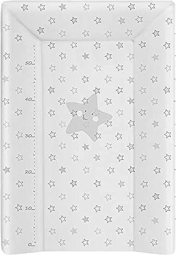 babyCalin Matelas à Langer Luxe Etoile Grise 50 x 70 cm - Avec toise imprimée