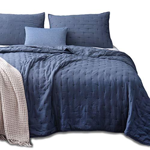 KASENTEX Quilt-Coverlet-Bedspread-Blanket-Set + Two Shams, Ultra Soft, Machine Washable, Lightweight, All-Season, Nostalgic Design - Hypoallergenic - Solid Color (King + 2 Shams, Blue)