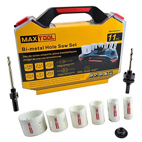 MaxTool 11PC Electrician Hole Saw Kit Cobalt HSS M42 Bi-Metal Holesaw Kit...