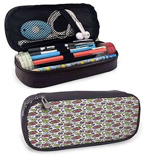 Candy Cane Makeup Pencil Case Bunte Baum verzierte Boxen und Candy Canes Muster Weihnachten Themen Illustration tragbare Pencil Case Multicolor
