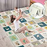 Tapis de jeu pour bébé extra large, tapis sensoriel et d'apprentissage pour bébé rampant, non toxique, antidérapant, imperméable, pliable et réversible (180 x 200 x 1,5 cm)