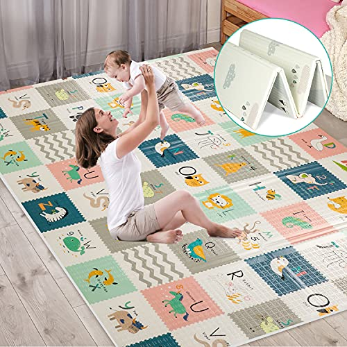 Tappetino da gioco per bambini extra large, tappetino per gattonare sensoriale e di apprendimento, tappetino antiscivolo per bambini non tossico, impermeabile, pieghevole e reversibile
