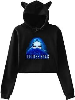 Women's Cat Ear Hoodie Sweater Jeffree Beauty Blogger Star Lumbar Sweatshirt Hooded Gray
