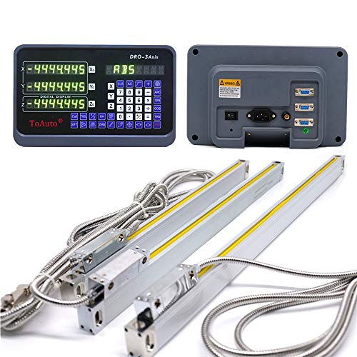 ToAuto 3 Axis Digital Readout 14' 18' 37' DRO Display 5um Precision TTL Linear Scale Encoder for CNC Wire Milling Cutting Machine, 350mm+450mm+950mm, US STOCK,2-3 Business Days