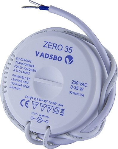 Vadsbo, Dimmable Electronic Transformer for 12VAC LED lights and 12V LV-Halogen, Zero 35, 0-35W, max. load 35W, Dimmable by trailing edge and leading edge dimmer; Elektronisch Dimmbar Transformator (Transformatorer)