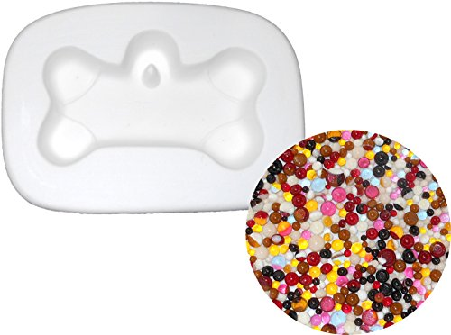 Gone To The Dogs Dog Bone Mold and Frit Ball Kit, 90COE - Fusible Glass Jewelry Mold