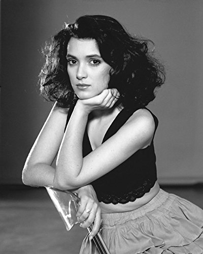 Erthstore 16x20 inch Fine Art Poster of Winona Ryder Beautiful Young Pose Seated in Black Top