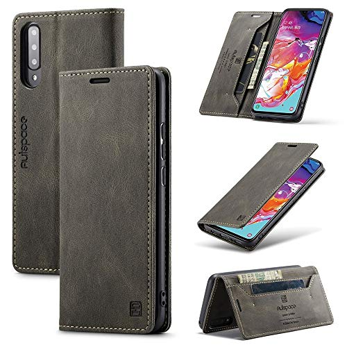Happy-L Funda para Samsung Galaxy A70, funda tipo cartera de piel con bloqueo RFID, cierre magnético, soporte para ranura para tarjeta, funda con función atril, funda de TPU suave (color gris)