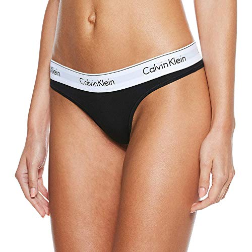 Calvin Klein Damen MODERN COTTON - THONG String, Schwarz (Black 001), S