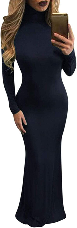 Meenew Women's Solid Long Sleeve Gown Elegant Turtleneck Bodycon Long Maxi Dress