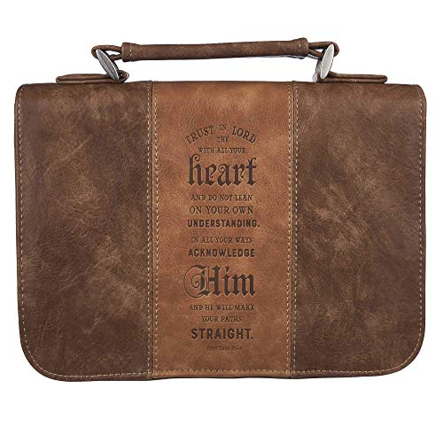 Christian Art Gifts Brown Faux Leather Classic Bible Cover   Trust in The...