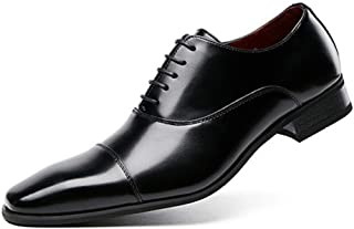 Weituoae Formal Oxford Shoes With Men's Formal Laces, Genuine Leather Right-toe Low-top Stitching, Solid Color, Non-slip (...
