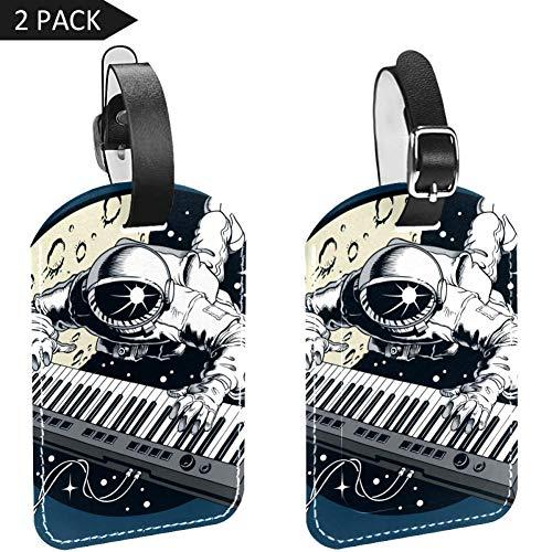 LORVIES Ruimte Astronaut Spelen Piano Synthese Bagage Tags Reizen Labels Tag Naam Kaarthouder voor Bagage Koffer Tas Rugzakken, 2 PCS