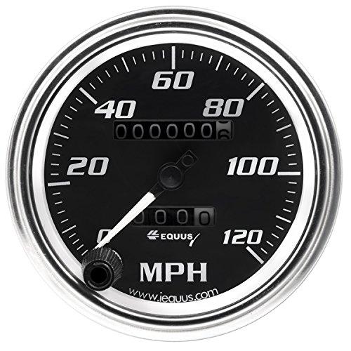 "Equus 7072 3-3/8"" Mechanical Speedometer, Chrome with Black Dial"