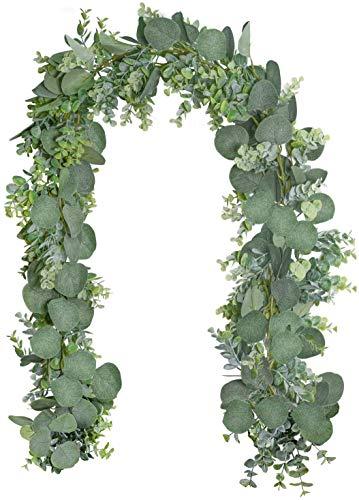 Gintan 2 Stück Künstliche Silberdollar Eukalyptusblätter,Künstliche Eukalyptus Girlande Künstlich Pflanze Deko Girlande Hochzeit Eukalyptus Kranz für Hochzeit Bogen Hausgarten