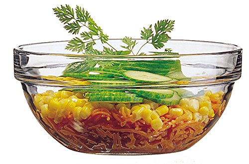"Luminarc 39 oz 1.2 quart Arc International Stackable Bowl (Set of 6), 6.5"", Clear"