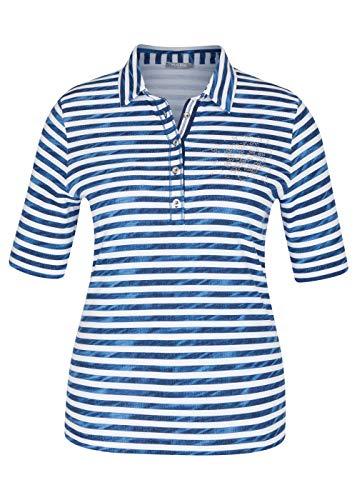 Rabe Damen Polo Shirt gestreift Smoky blau/Weiss - 46