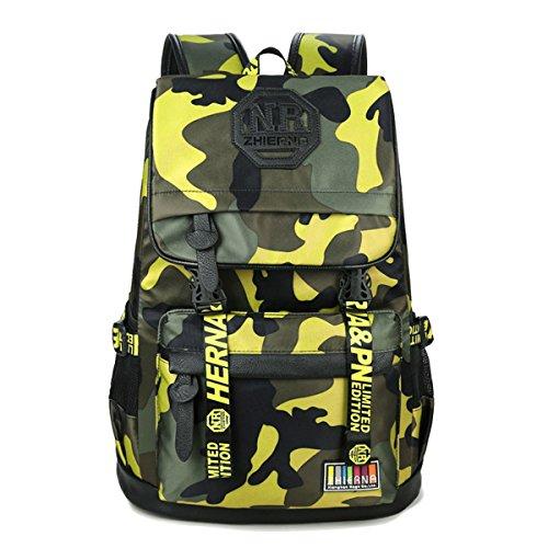 Bom Bom Mochila Escolar Camuflage para Niños Bolso Colegio Impermeable (Amarillo)