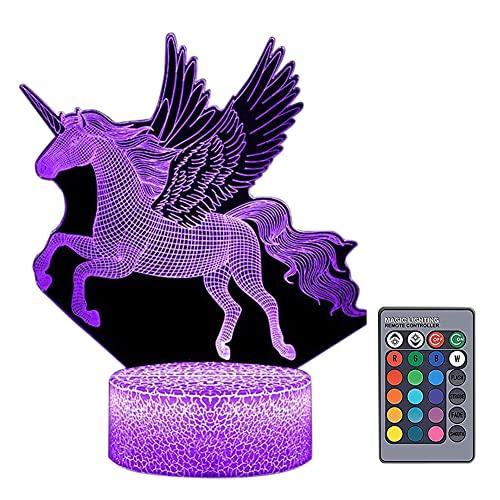 Artline 3D LED noche luz colorida alada caballo táctil remoto lámpara de mesa decoración habitación
