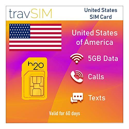 travSIM h2o USA SIM-Karte für 60 Tage - 5GB Mobile Daten – Vereinigte Staaten h2o US SIM-Karte (Unbegrenzte lokale und Internationale Gespräche und SMS)
