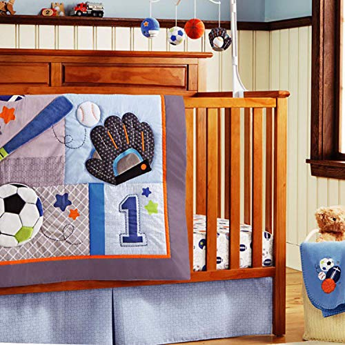Sports Crib Nursery Bedding Set, Baseball Baby Boy Handmade Crib Bedding Quilt Set with Bumpers Navy Blue, 10-Piece Baby Boy Sports Bedding