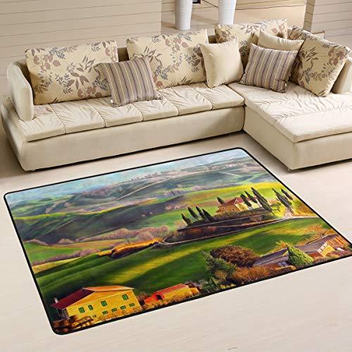 TIZORAX Landhaus-Teppich aus Holz, rutschfest, zottelig, für Wohnzimmer, Schlafzimmer, Esszimmer, 91,4 x 61 cm