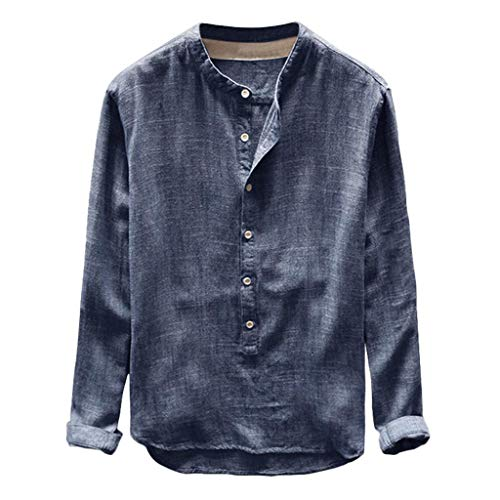 Camisas Hombre Manga Larga Baratas 2019 Moda SHOBDW Camisa Lino Hombre Casual Blusa Slim Fit Tops Shirts Collar De Pie Tallas Grandes 4XL(Armada,XXL)