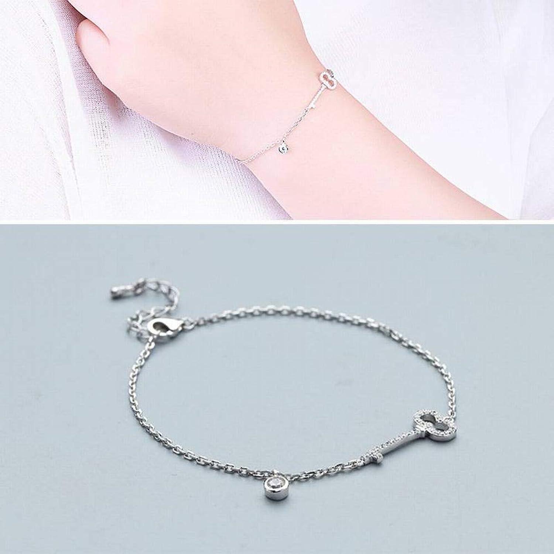 Zicue Stylish Charming Bracelet Exquisite Ornaments Women's Simple Geometric Plating Bracelet S925 Silver Bracelet Women Key Inlay Bracelet ( color   White )