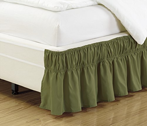 Mk Collection Wrap Around Style Easy Fit Elastic Bed Ruffles Bed-Skirt Queen-King Solid Green New